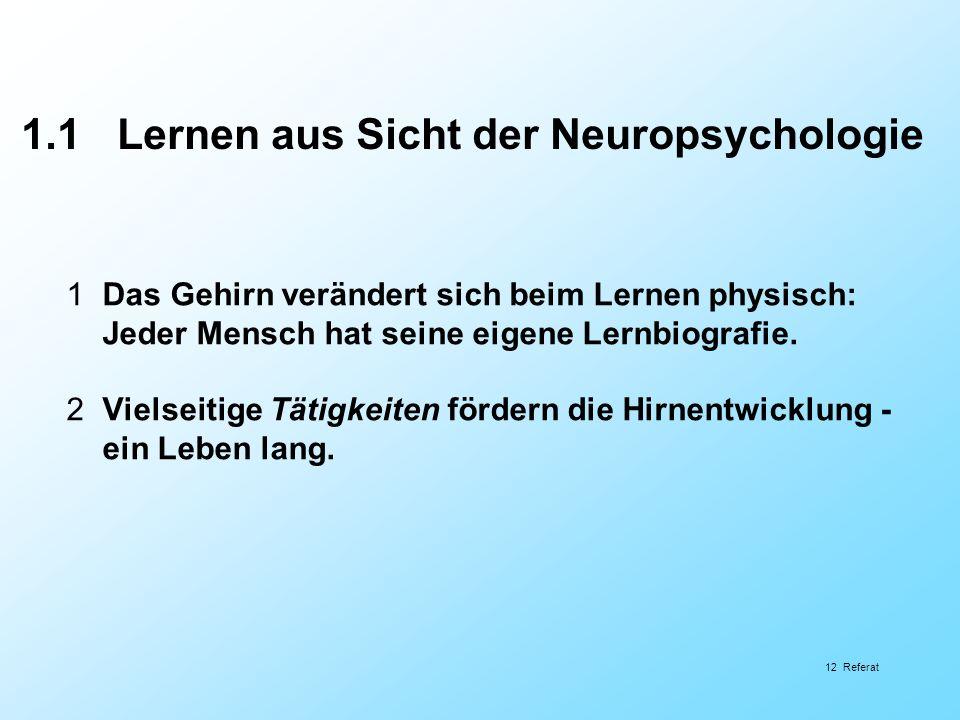 1.1 Lernen aus Sicht der Neuropsychologie