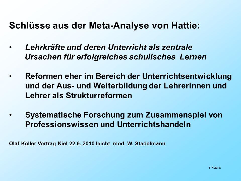 Schlüsse aus der Meta-Analyse von Hattie: