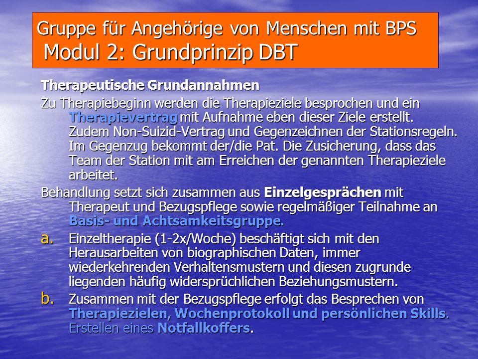 Gruppe für Angehörige von Menschen mit BPS Modul 2: Grundprinzip DBT
