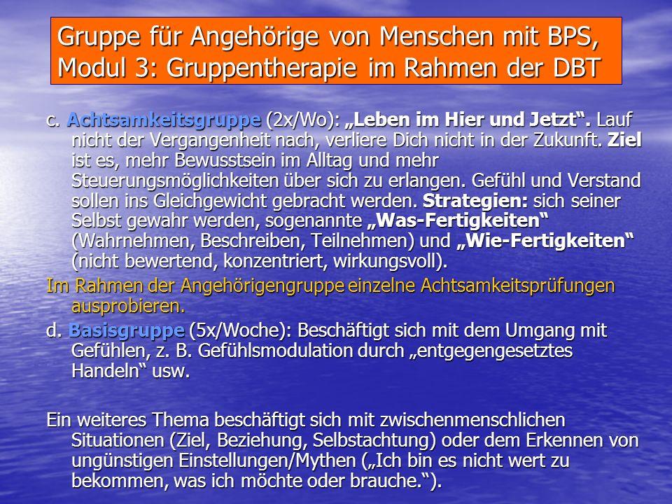 Gruppe für Angehörige von Menschen mit BPS, Modul 3: Gruppentherapie im Rahmen der DBT