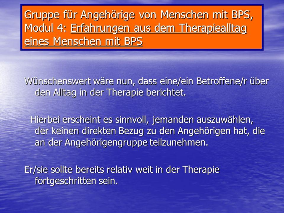 Gruppe für Angehörige von Menschen mit BPS, Modul 4: Erfahrungen aus dem Therapiealltag eines Menschen mit BPS