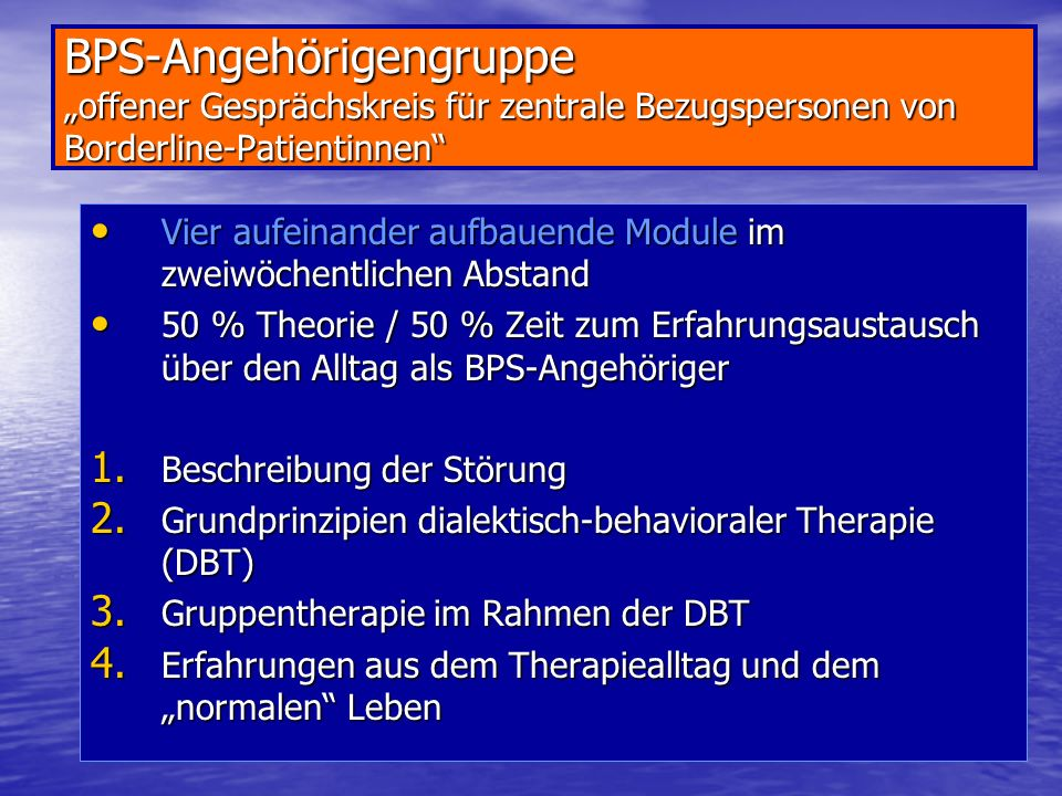 """BPS-Angehörigengruppe """"offener Gesprächskreis für zentrale Bezugspersonen von Borderline-Patientinnen"""