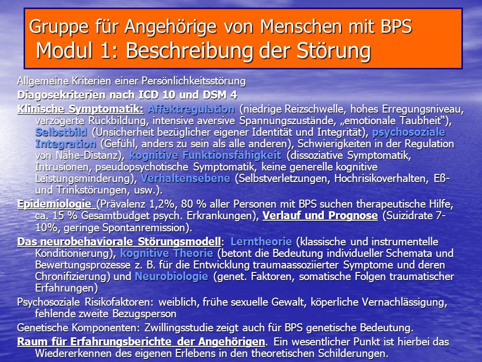 Gruppe für Angehörige von Menschen mit BPS Modul 1: Beschreibung der Störung