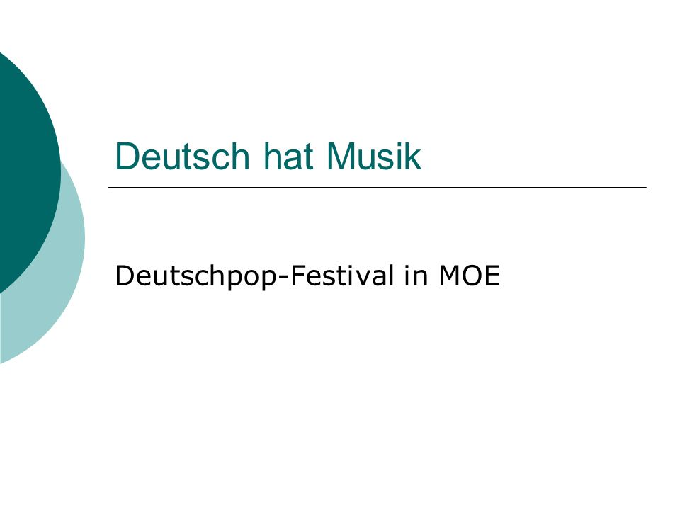 Deutschpop-Festival in MOE
