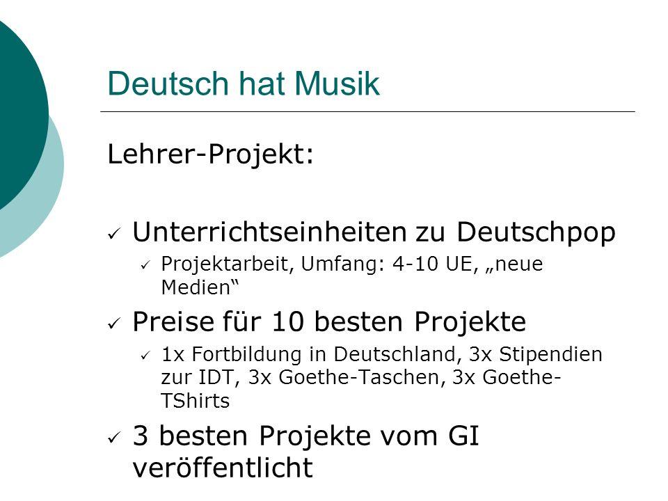 Deutsch hat Musik Lehrer-Projekt: Unterrichtseinheiten zu Deutschpop