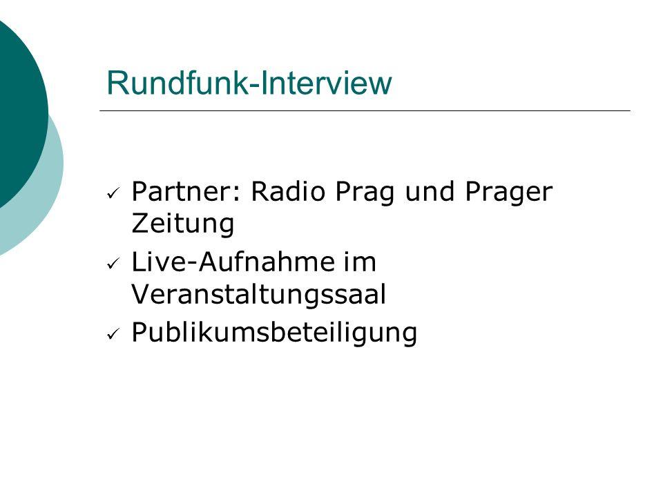 Rundfunk-Interview Partner: Radio Prag und Prager Zeitung