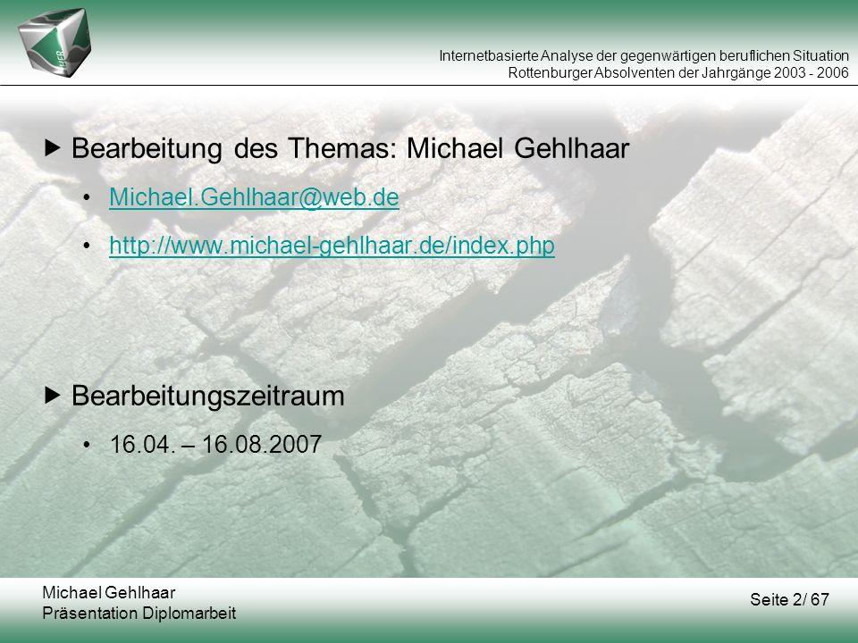 Bearbeitung des Themas: Michael Gehlhaar