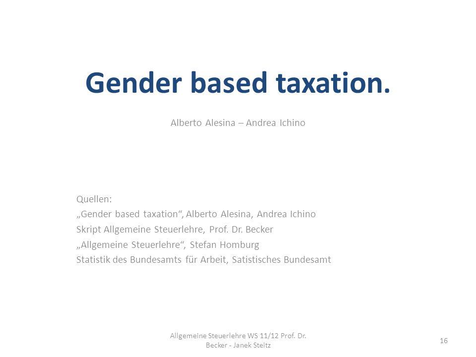 Gender based taxation. Alberto Alesina – Andrea Ichino Quellen: