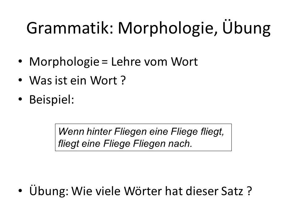 Grammatik: Morphologie, Übung
