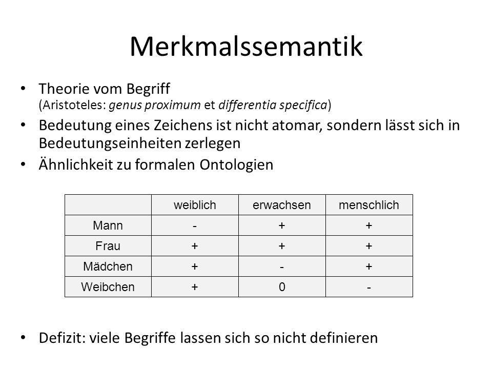 Merkmalssemantik Theorie vom Begriff (Aristoteles: genus proximum et differentia specifica)