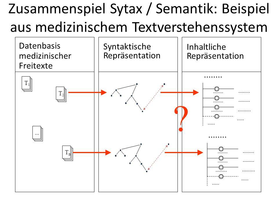 Zusammenspiel Sytax / Semantik: Beispiel aus medizinischem Textverstehenssystem