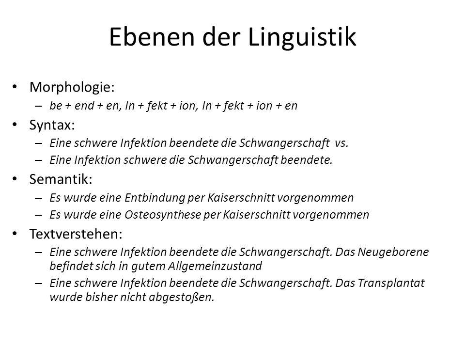 Ebenen der Linguistik Morphologie: Syntax: Semantik: Textverstehen: