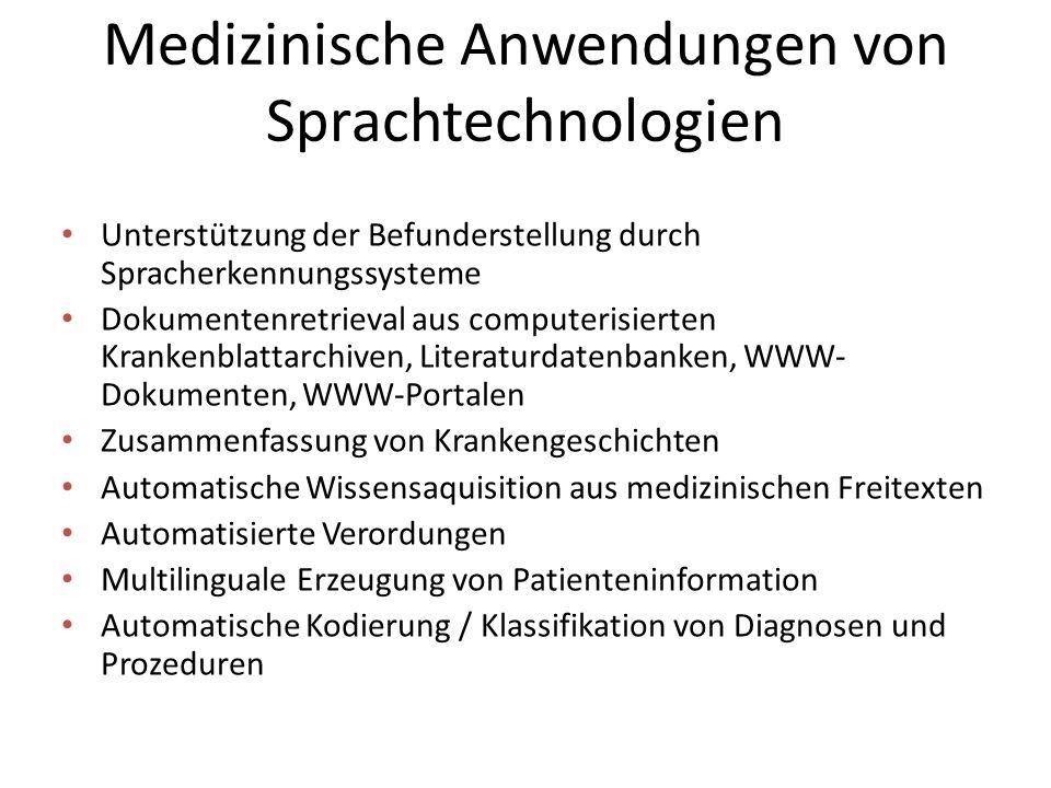 Medizinische Anwendungen von Sprachtechnologien