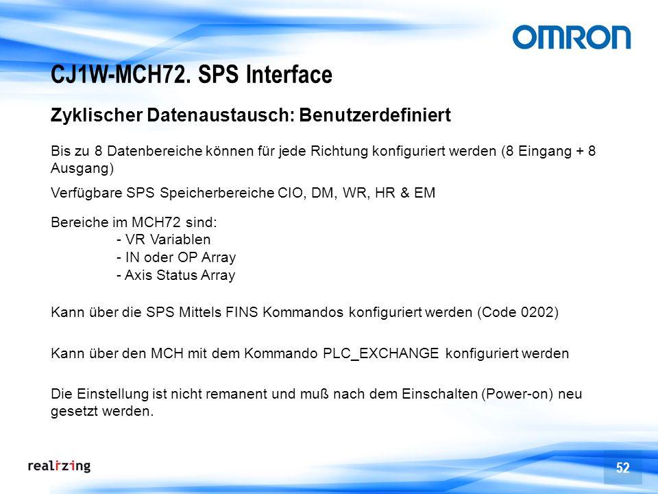 CJ1W-MCH72. SPS Interface Zyklischer Datenaustausch: Benutzerdefiniert