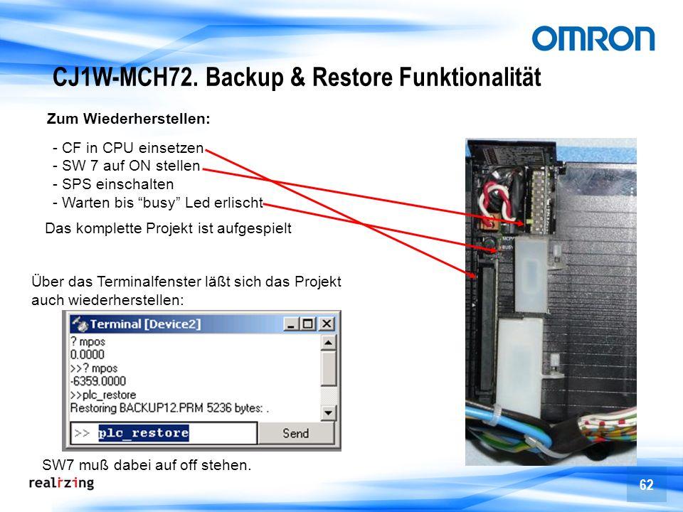 CJ1W-MCH72. Backup & Restore Funktionalität
