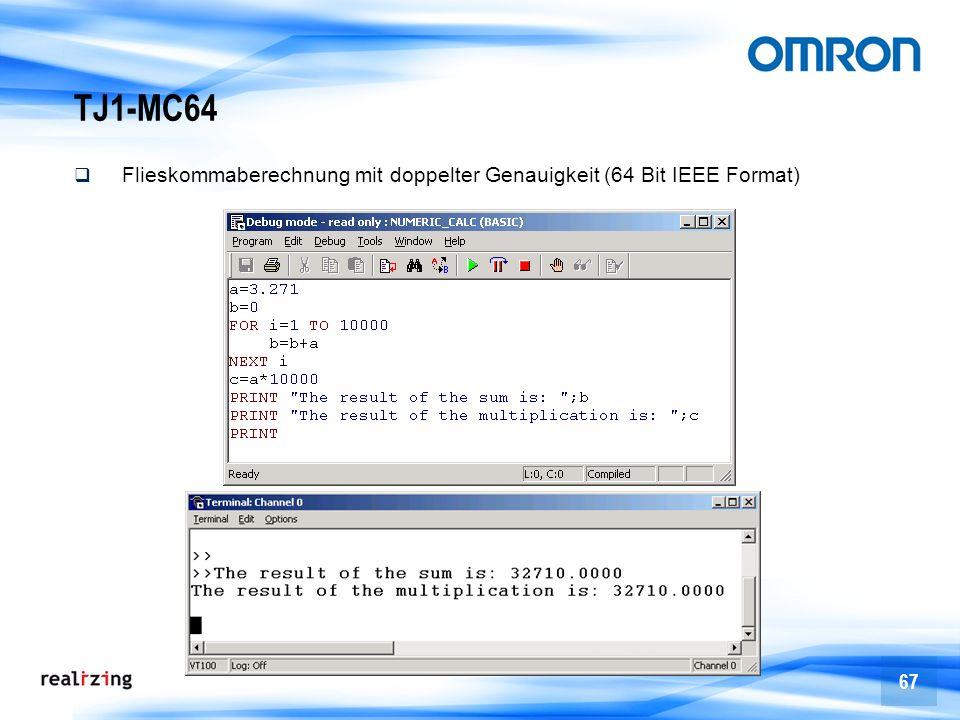 TJ1-MC64 Flieskommaberechnung mit doppelter Genauigkeit (64 Bit IEEE Format)