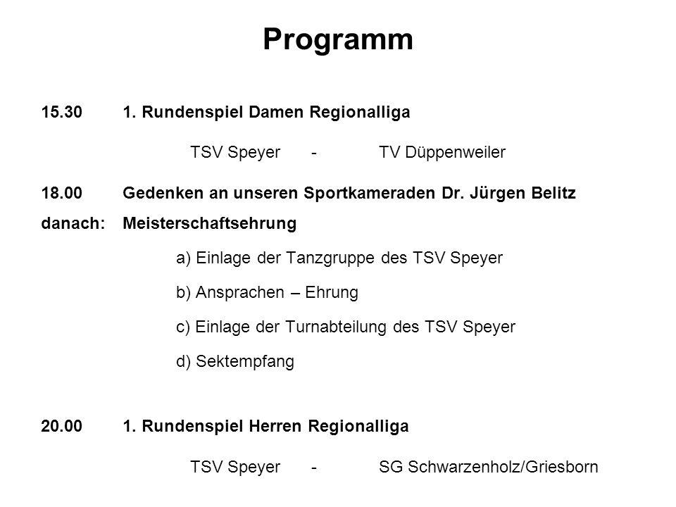 Programm 15.30 1. Rundenspiel Damen Regionalliga