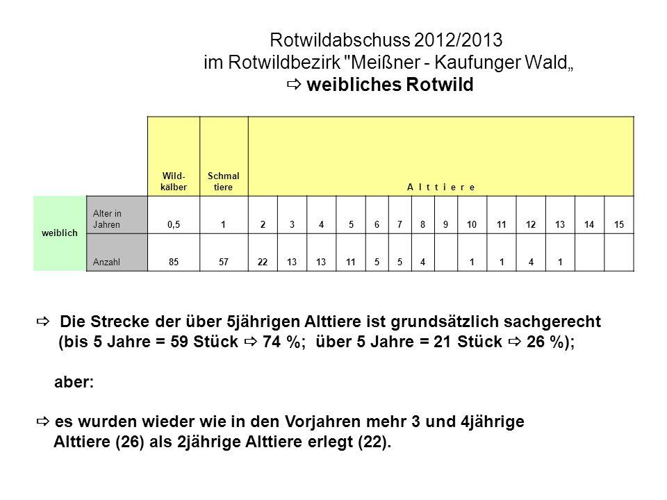 """Rotwildabschuss 2012/2013 im Rotwildbezirk Meißner - Kaufunger Wald""""  weibliches Rotwild"""