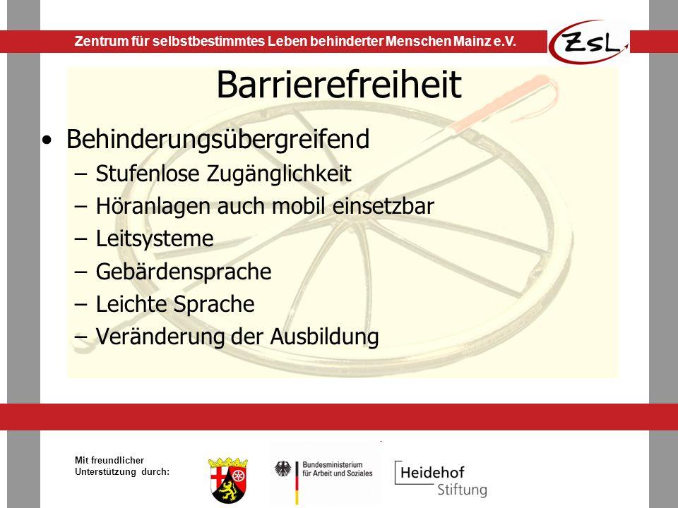 Barrierefreiheit Behinderungsübergreifend Stufenlose Zugänglichkeit