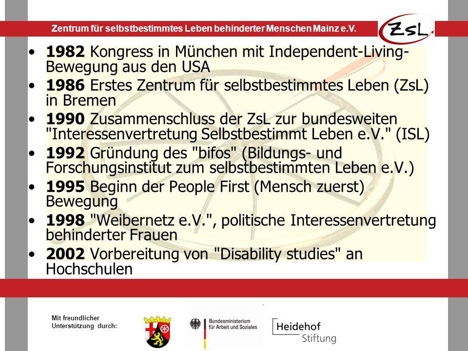 1982 Kongress in München mit Independent-Living-Bewegung aus den USA