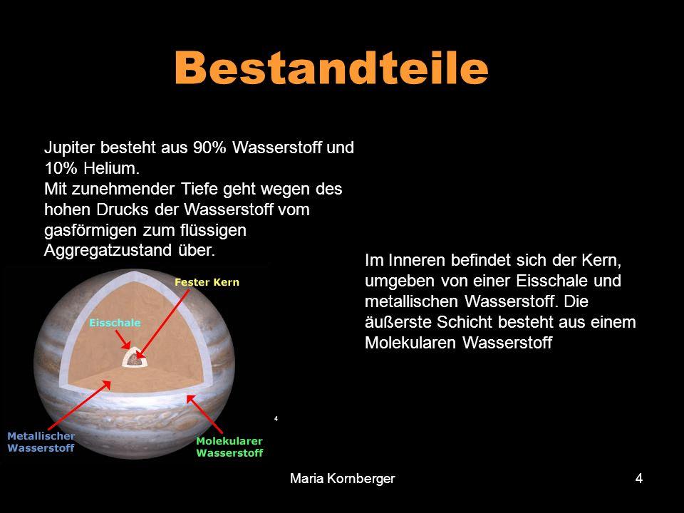 Bestandteile Jupiter besteht aus 90% Wasserstoff und 10% Helium.