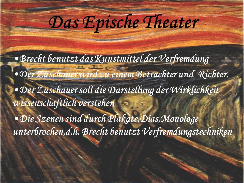Das Epische Theater Brecht benutzt das Kunstmittel der Verfremdung
