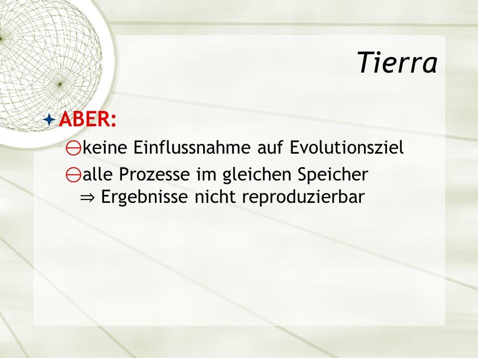 Tierra ABER: keine Einflussnahme auf Evolutionsziel
