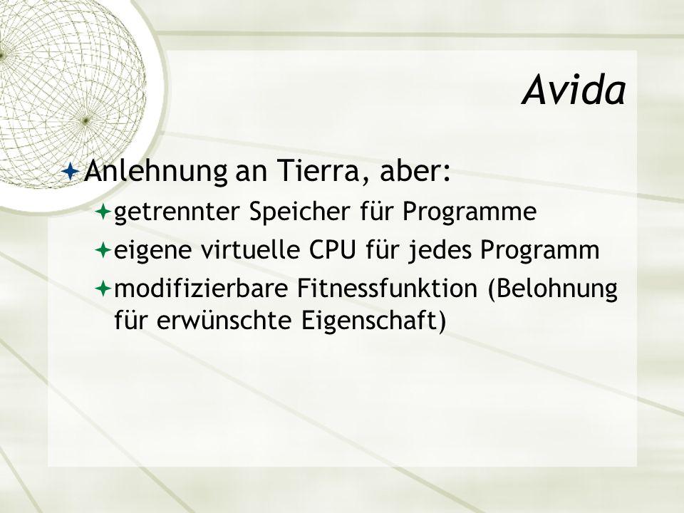 Avida Anlehnung an Tierra, aber: getrennter Speicher für Programme