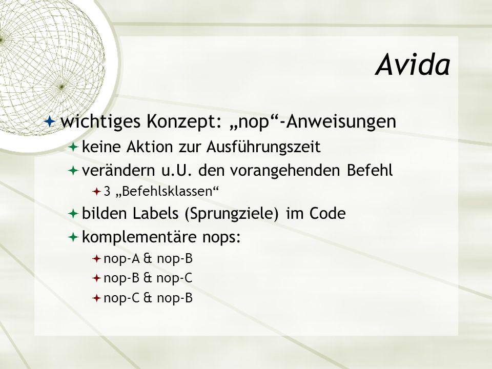 """Avida wichtiges Konzept: """"nop -Anweisungen"""