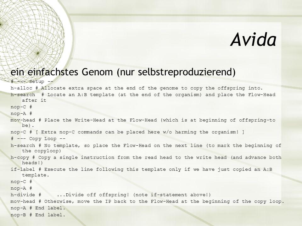 Avida ein einfachstes Genom (nur selbstreproduzierend) # --- Setup --