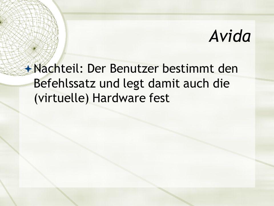 Avida Nachteil: Der Benutzer bestimmt den Befehlssatz und legt damit auch die (virtuelle) Hardware fest.