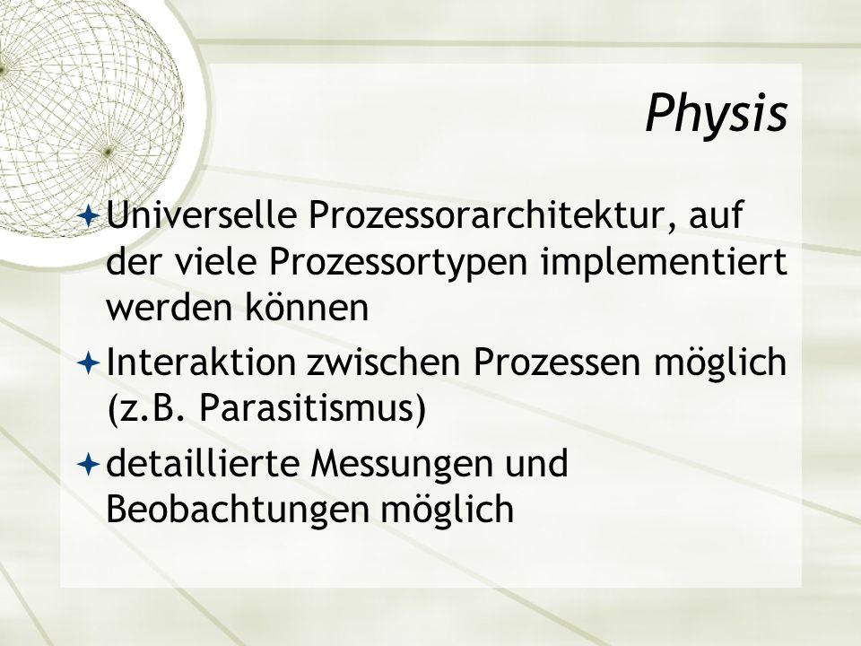 Physis Universelle Prozessorarchitektur, auf der viele Prozessortypen implementiert werden können.