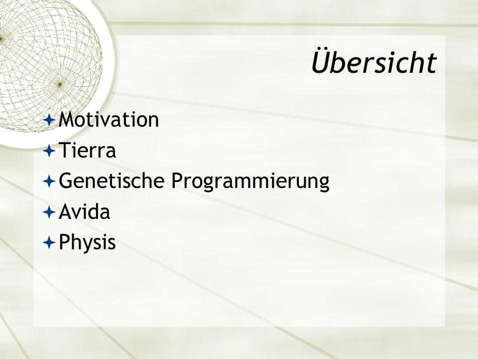 Übersicht Motivation Tierra Genetische Programmierung Avida Physis