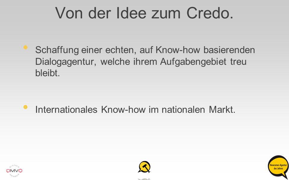 Von der Idee zum Credo. Schaffung einer echten, auf Know-how basierenden Dialogagentur, welche ihrem Aufgabengebiet treu bleibt.