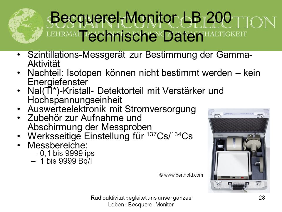 Becquerel-Monitor LB 200 Technische Daten