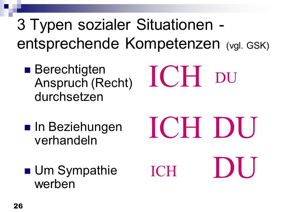3 Typen sozialer Situationen -entsprechende Kompetenzen (vgl. GSK)