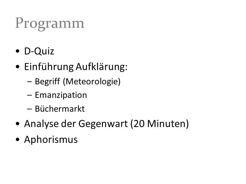 Programm D-Quiz Einführung Aufklärung: