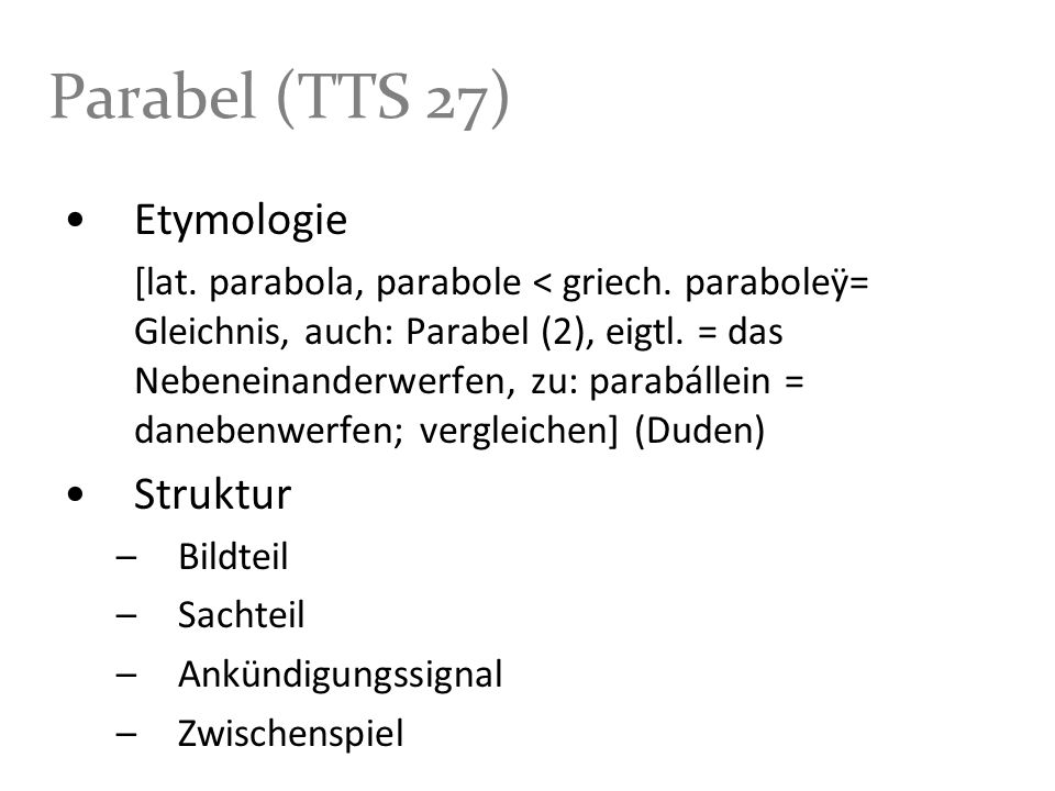 Parabel (TTS 27) Etymologie Struktur Bildteil Sachteil