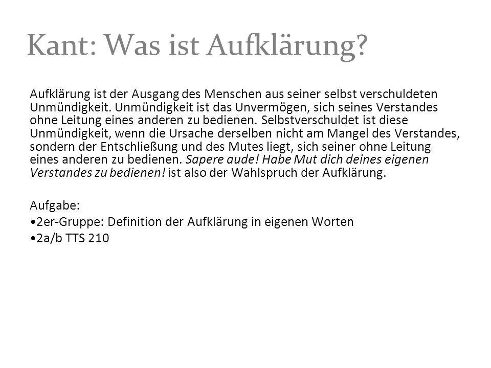 Kant: Was ist Aufklärung