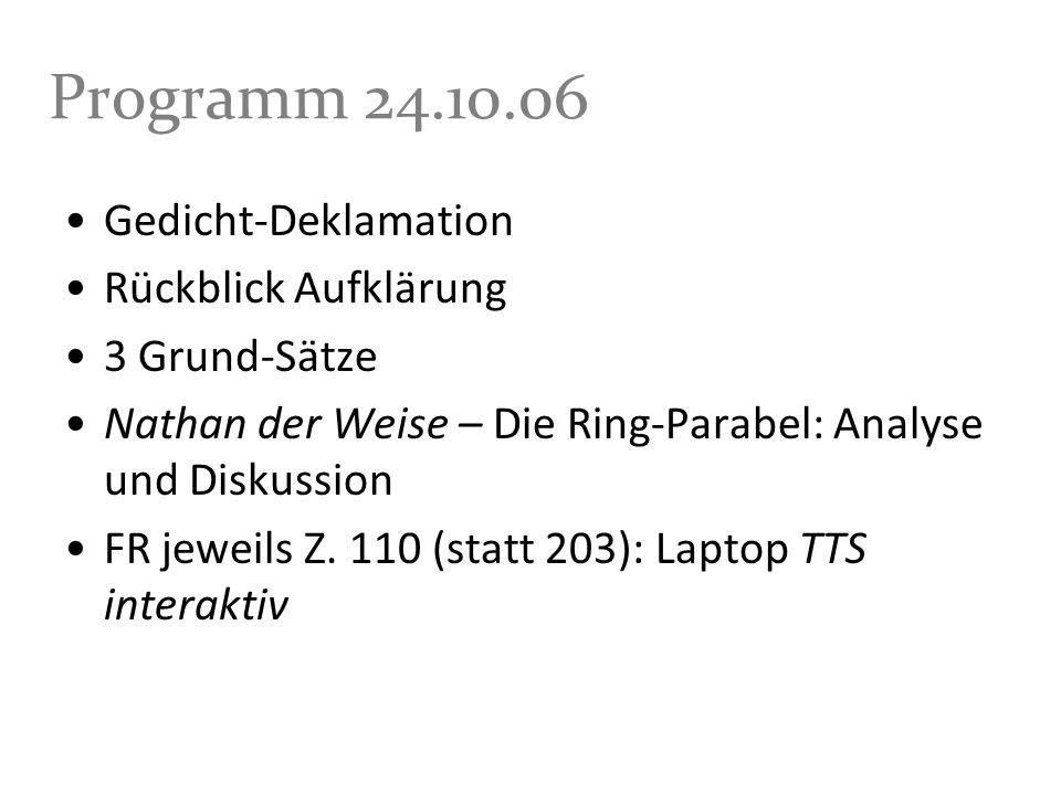 Programm 24.10.06 Gedicht-Deklamation Rückblick Aufklärung