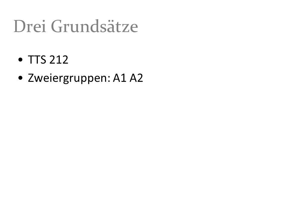 Drei Grundsätze TTS 212 Zweiergruppen: A1 A2