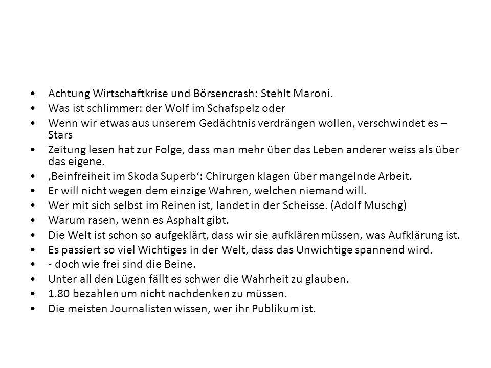Achtung Wirtschaftkrise und Börsencrash: Stehlt Maroni.