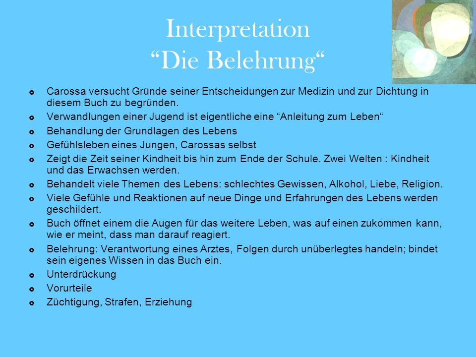 Interpretation Die Belehrung