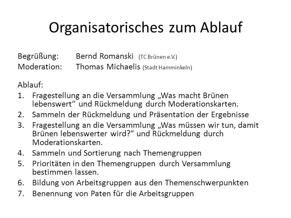 Organisatorisches zum Ablauf