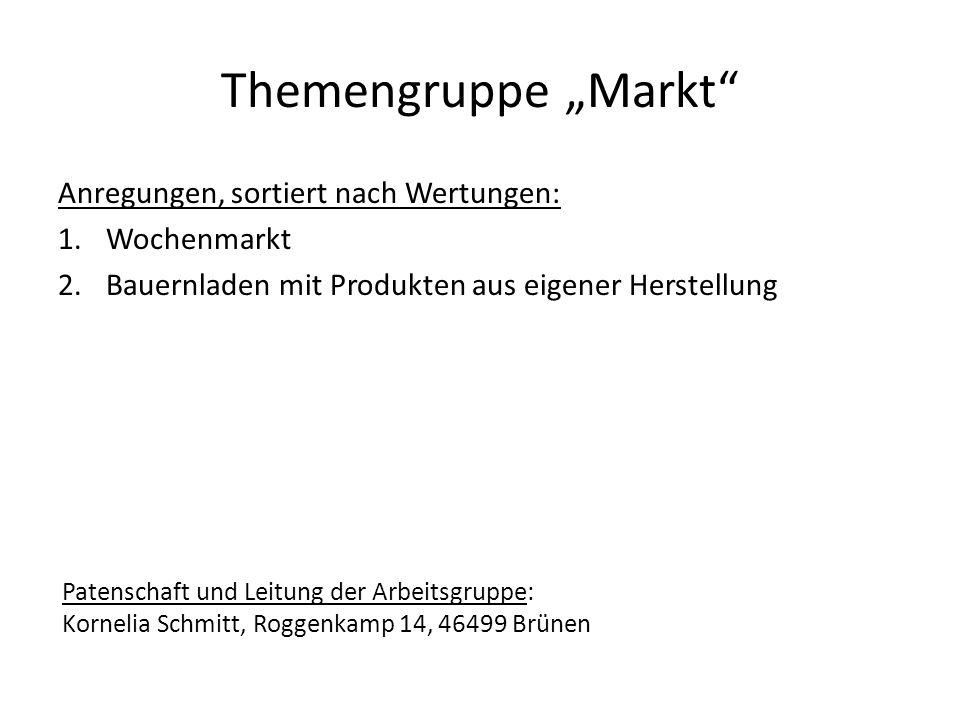 """Themengruppe """"Markt Anregungen, sortiert nach Wertungen: Wochenmarkt"""
