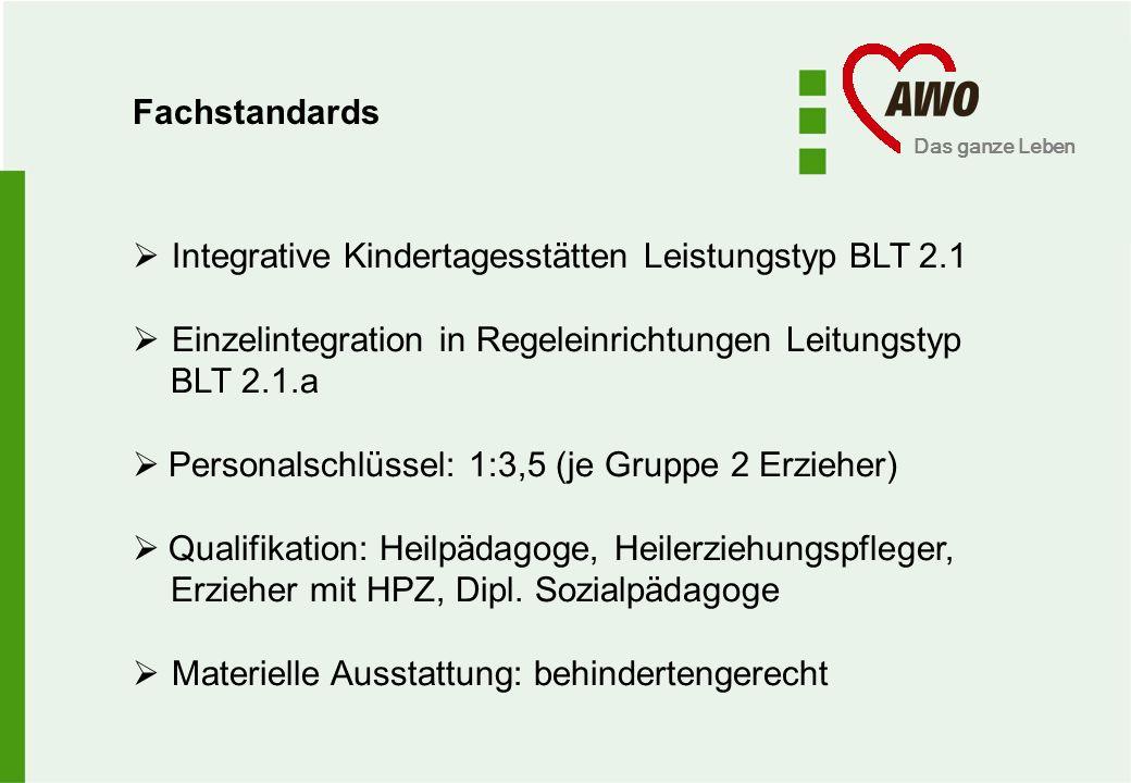 Fachstandards Integrative Kindertagesstätten Leistungstyp BLT 2.1. Einzelintegration in Regeleinrichtungen Leitungstyp.