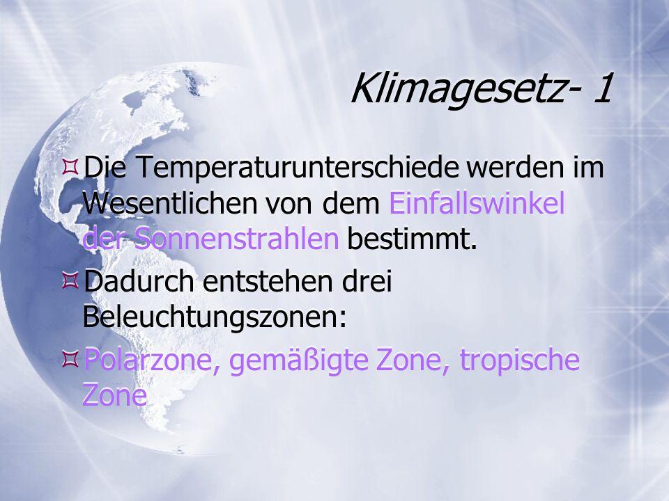 Klimagesetz- 1 Die Temperaturunterschiede werden im Wesentlichen von dem Einfallswinkel der Sonnenstrahlen bestimmt.