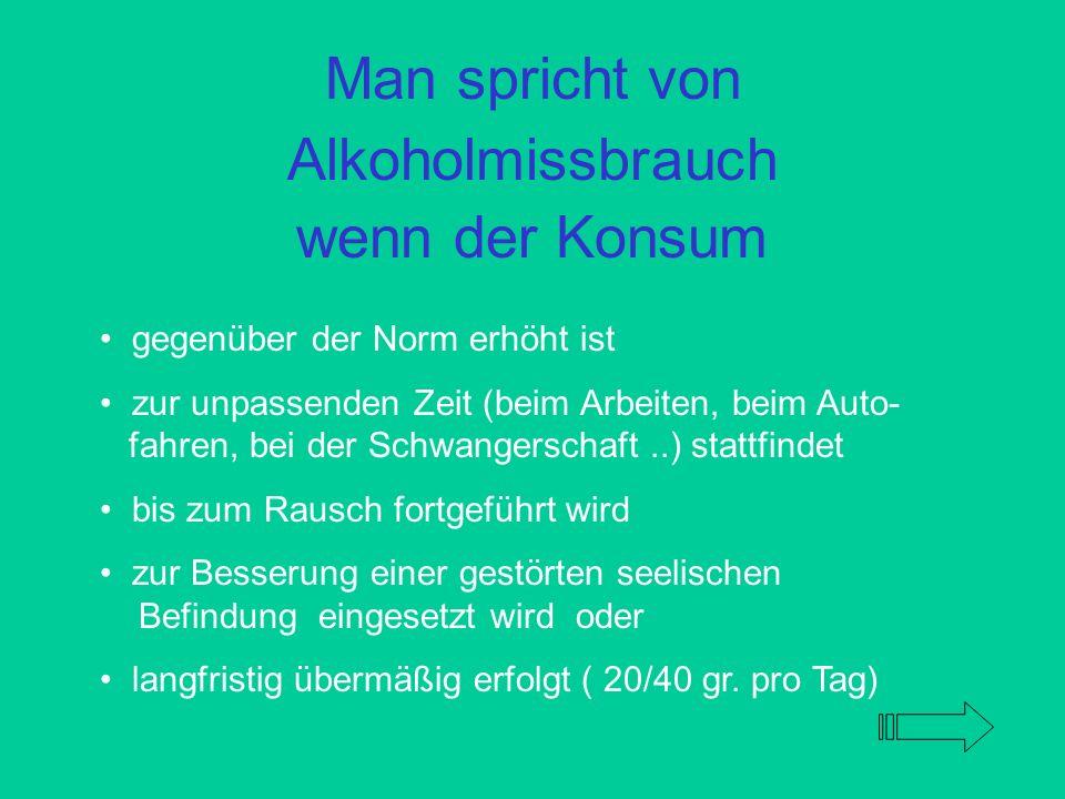 Man spricht von Alkoholmissbrauch wenn der Konsum