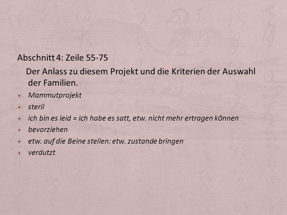 Abschnitt 4: Zeile 55-75 Der Anlass zu diesem Projekt und die Kriterien der Auswahl der Familien. Mammutprojekt.