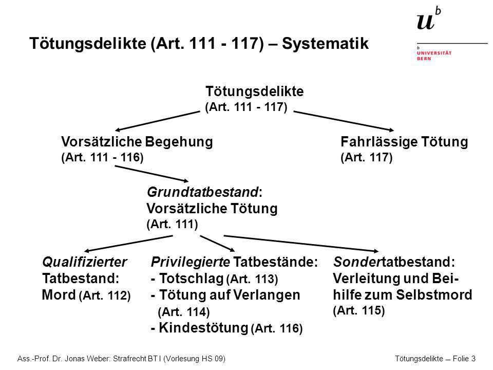 Tötungsdelikte (Art. 111 - 117) – Systematik